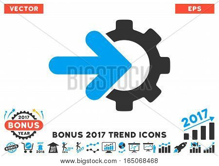 Blue And Gray Gear Integration pictogram with bonus 2017 year trend design elements. Vector illustration style is flat iconic bicolor symbols white background.