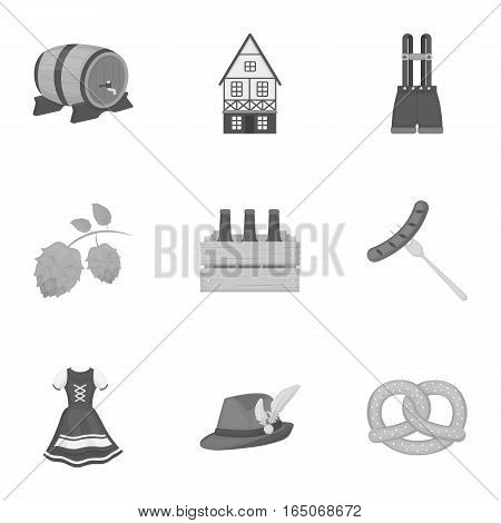 Oktoberfest set icons in monochrome style. Big collection of Oktoberfest vector symbol stock