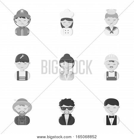 Profession set icons in monochrome style. Big collection of profession vector symbol stock