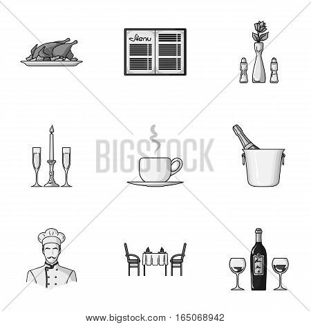 Restaurant set icons in monochrome design. Big collection of restaurant vector symbol stock illustration