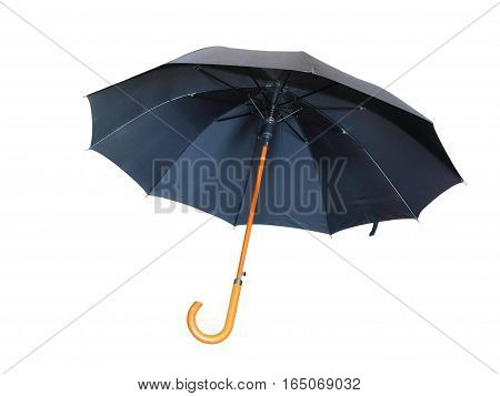 Modern black umbrella isolated on white background.