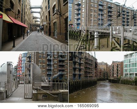 LONDON UK - CIRCA JULY 2004: Views of the London Docklands area on river Thames