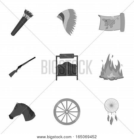 Wild west set icons in monochrome style. Big collection of wild west vector symbol stock