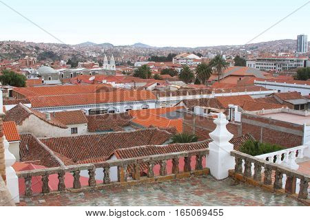 Sucre Bolivia - December 7 2016: Rooftop view from San Felipe Neri Monastery of Sucre Bolivia on December 7 2016