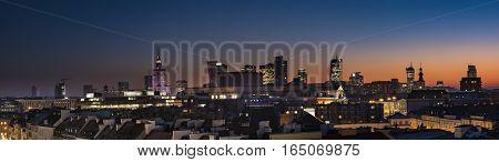 Warsaw downtown panorama during sunset Poland .