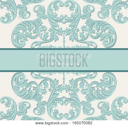 Baroque Vintage Vector Card. Damask Royal Decor. Elegant Poster for weddings, ceremony, events