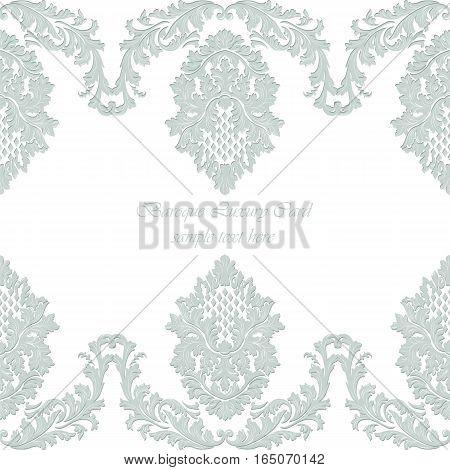 Luxury Baroque Vintage Vector Card. Damask Royal Decor. Elegant Poster for weddings, ceremony, events. Riverside blue color