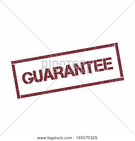 Guarantee Rectangular Stamp. Textured Red Seal With Text Isolated On White Background, Vector Illust