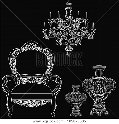 Exquisite Fabulous Imperial Baroque chair and accesories set. Vector French Luxury rich intricate ornamented structure. Victorian Royal Style decor