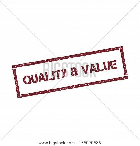 Quality & Value Rectangular Stamp. Textured Red Seal With Text Isolated On White Background, Vector