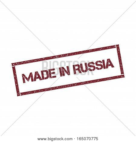 Made In Russia Rectangular Stamp. Textured Red Seal With Text Isolated On White Background, Vector I