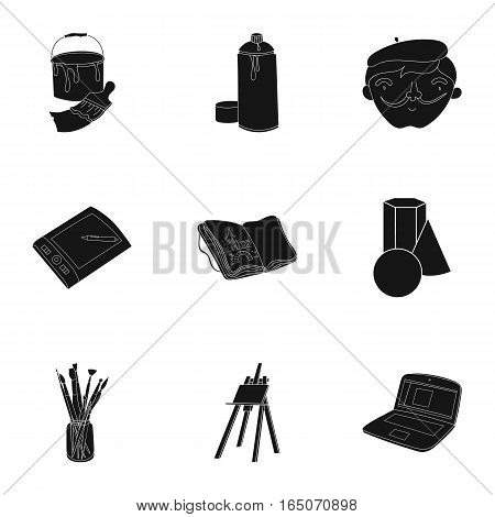 Artist and drawing set icons in black design. Big collection of artist and drawing vector symbol stock illustration