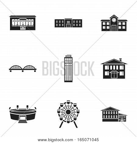 Building set icons in black style. Big collection of building vector symbol stock