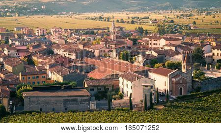 View Of Soave (italy) Surrounded By Vineyards.