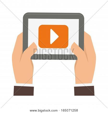 hands holding a tablet device with video player button over white background. entertainment and technology concept. colorful design.  vector illustration