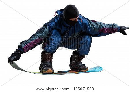 man riding snowboard isolated on whte background