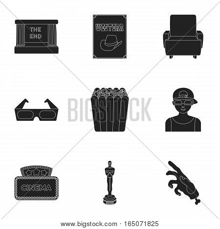 Films and cinema set icons in black style. Big collection of films and cinema vector symbol stock