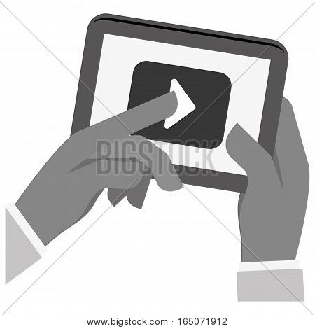 hands holding a tablet device with video player button over white background. entertainment and technology concept.  vector illustration