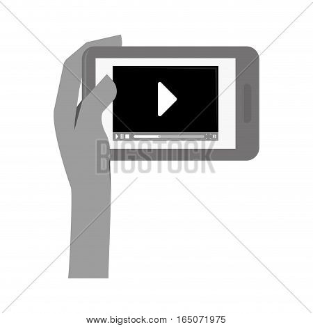 hand holding a smartphone device with video player button on screen over white background. entertainment and technology design. vector illustration