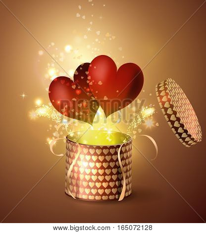 Box With two Heart in retro style Background, Vector Illustration