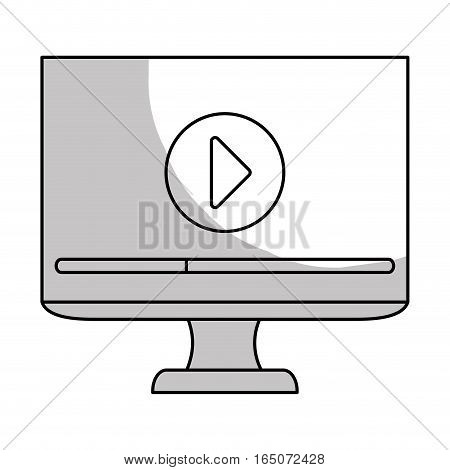 monitor computer with video player button on screen over white background. entertainment and technology design. vector illustration