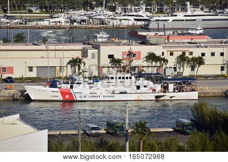 MIAMI - January 5 2017: US Coast Guard vessels prepares for patrol from its home base in Miami. Vessels perform routine partols of the Florida Straits