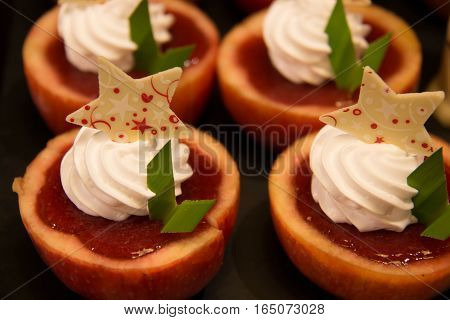 dessert apple dessert with fresh cream strawberry filling