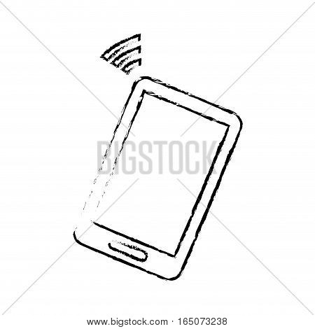 smartphone device icon over white background. vector illustration