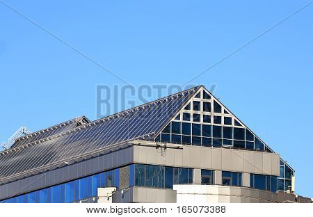 Top of huge building in a futuristic style