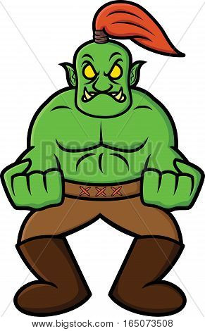 Angry Orc Cartoon Illustration Isolated on White