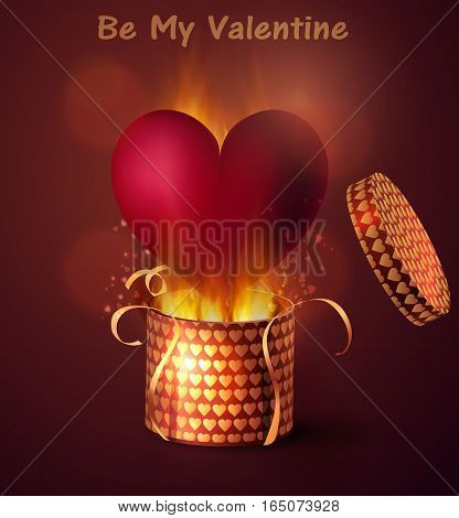 Box With Heart with flame burning inside in retro style Background, Vector Illustration