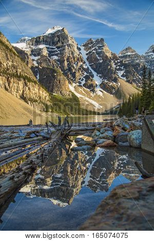 One of the many iconic views of Moraine Lake in Banff.