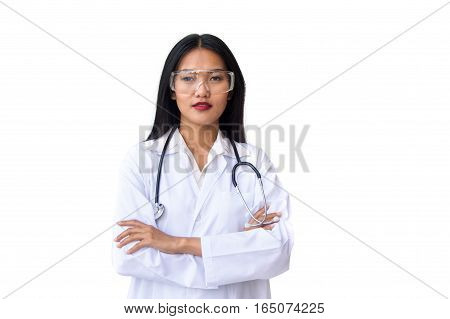Doctor wearing protective glasses standing with arms crossed ,care and safety concept