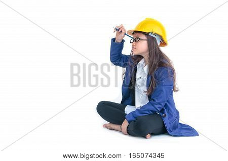 Little Girl With A Yellow Helmet  Writing With Pen On Empty Screen