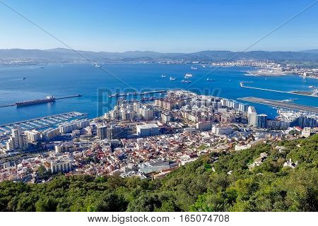 Gibraltar, Great britain, January 12, 2017: Gibraltar and the Bay of Algeciras in Spain.