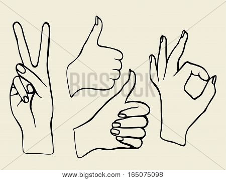 Monochrome Vector set of hands. Icons of different characters. Pointing finger. Clapping, applause, Good and ok.