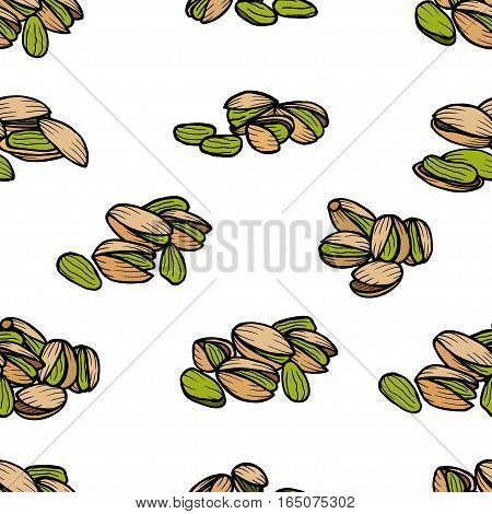 Pistachios pattern including seamless on white background. Hand drawn Pistachios vector. Pistachios seeds with clipping path.