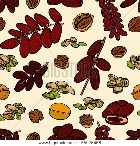 Vector seamless pattern sketched nuts in hand drawn style