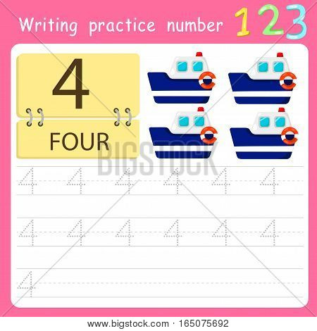 worksheet Writing practice number four for kid