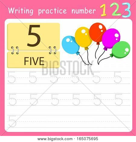 worksheet Writing practice number five for kid