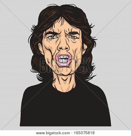 Mick Jagger Vector Portrait Illustration Caricature. January 14, 2017