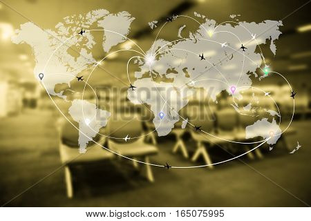 Abstract Blurred Airport Terminal Interior With World Map Of Flight Routes Airplanes Network. Global