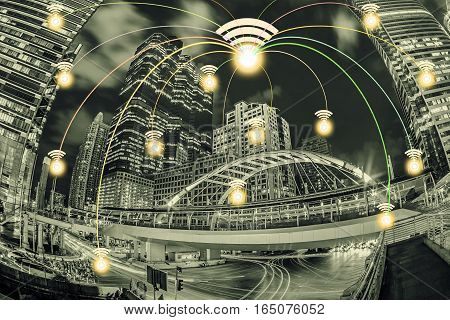 Connection City With Wifi Icon And Night City Scape. Network Connection Concept.