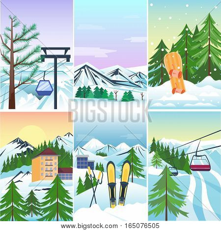 Winter landscape with a Christmas tree. Mountain frozen wallpaper vintage beautiful nature. Xmas season december card vector background. Snowflake and snow skiing sport.