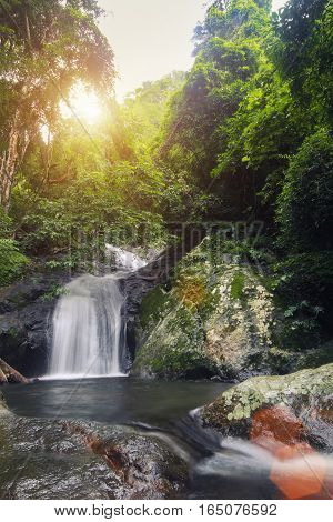 Krok-e-dok Waterfall With Sunlight In Mountain At Thailand National Park. Vintage Filtered.
