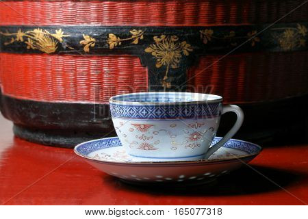 Chinaware tea cup saucer old vintage on table