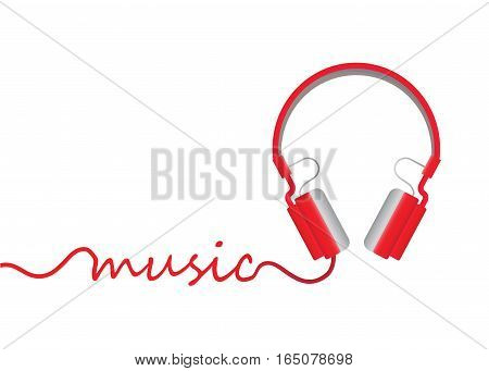 Red Headphones isolated on white background vector illustration.