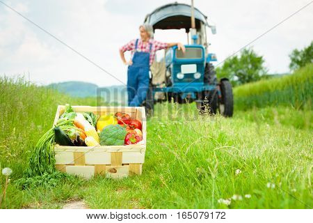 farmer standing in a field with his tractor and a crate of vegetables