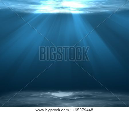 Ocean underwater Sea deep or Underwater scene background with sunlight.
