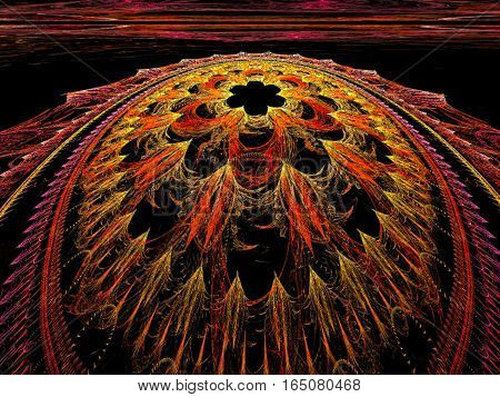 Fractal background: part of orange sphere or bead with intricate ornament in perspective view. Abstract computer-generated image for covers, web design, posters.